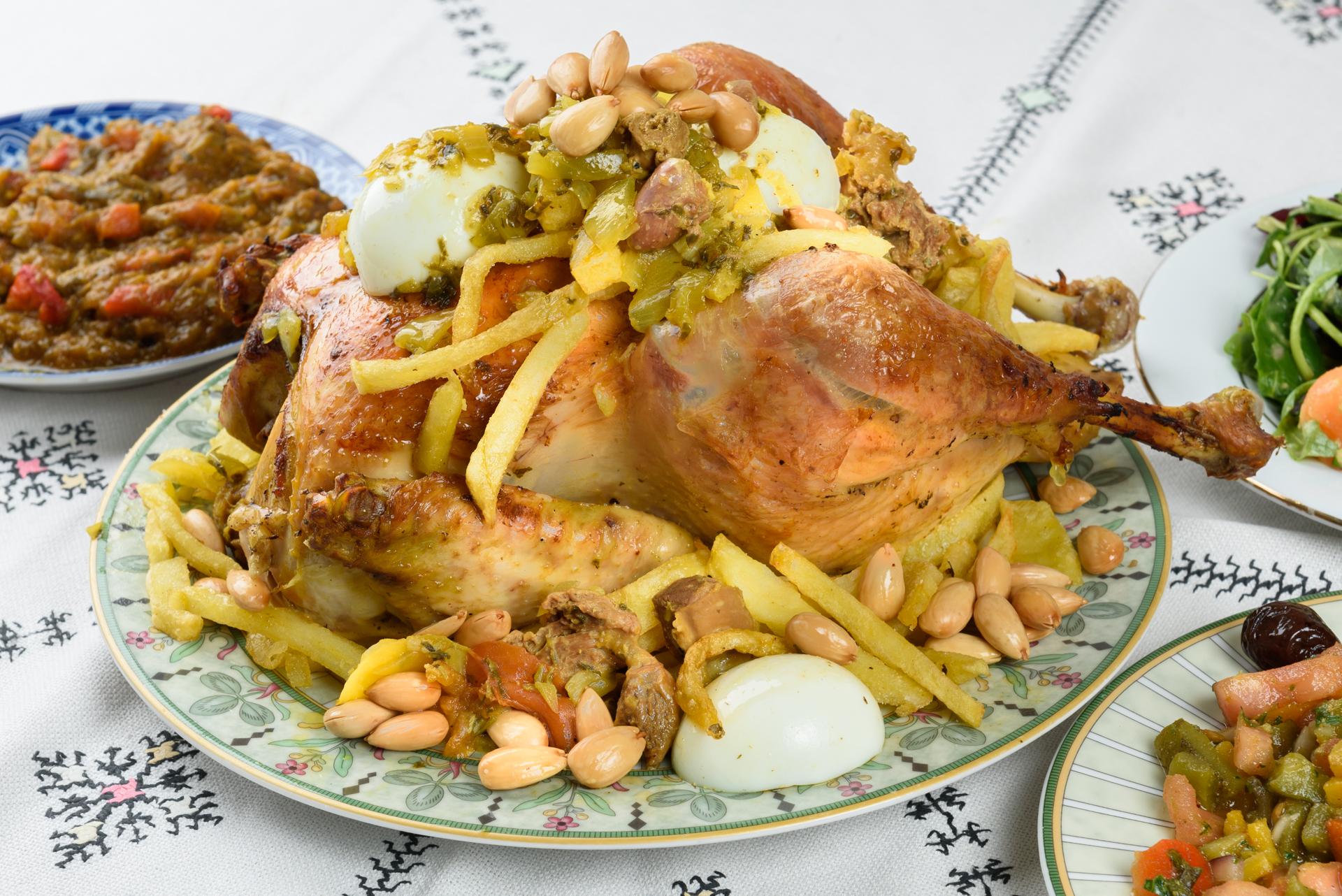 Poulet citron, olives et frites